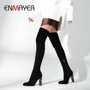 ENMAYER 2019 Sobre la rodilla Botas de invierno Las mujeres se deslizan en las botas delgadas de gamuza Faux Toe Round Toe Basic Square Heel Mujer zapatos 34 41 Zapatos sexy B M9ko #