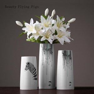 Nordic Modern Cebra Jarrón de cerámica Sala de estar Gabinete TV Mueble Accesorios para el hogar Flor Creativo Creativo Flor de decoración Adornos