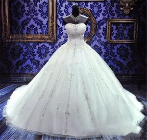 2021 Luxury Beaded Embroidery Bridal Gowns Princess Gown Sweetheart Corset Organza Ruffles Cathedral Ball Gown Wedding Dresses Cheap