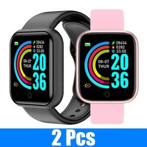 2 PCS Y68 Smart Watch Fitness Tracker Blood Pressure Smartwatches Waterproof Heart Rate Monitor Bluetooth Smart watch