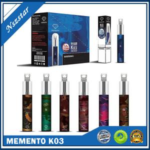 Memento original k03 kit de dispositivo desechable con luz de rgb 850mAh batería 1500 soplo precollado cartucho vape pluma genuine vs bar plus