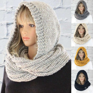 2020 fashion hooded women's pure wool hat collar knitted trend scarf