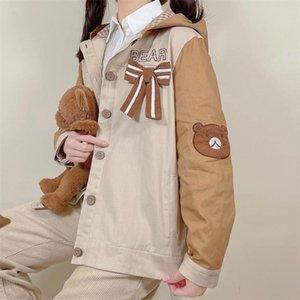 Women's Trench Coats 2021 Lovely Color Blocking Long Sleeve Loose Hooded Jacket Korean Fashion Bear Pattern Bowknot Button Women Coat Female