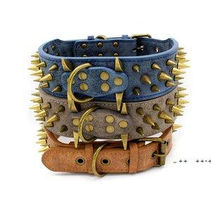 Bronze spiked pet dog collars wear-resistant PU large retro rivet collar 3 colors FWE9797