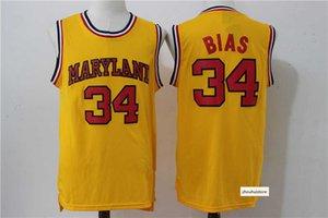 Men's Maryland #34 Len Bias Yellow College Basketball Jersey Hiphop Street Slam Tops CARTOON Sand Beach Sport Training Shirts