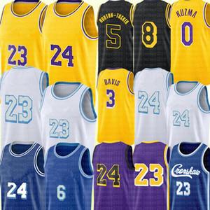 Los Alex 4 Caruso Angeles Jersey Anthony 3 Davis Kyle 0 Kuzma Jersey Talen 5 Horton-Tucker Basketbol Formaları Sarı Siyah Beyaz Mor