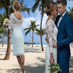 Long Lace Short Wedding Dress White Beach Sleeve 2021 Simple V Neck Sheath Bridal Gowns