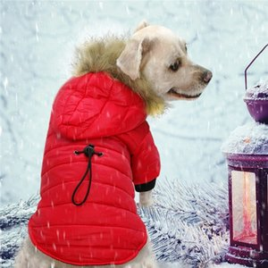 Pet Down Cotton Clothing Thin Coat Snowsuit Windproof Faux Fur Puppy Parka Coat Adjustable Dog Winter Jacket with Hood Dog Warm Outwear Dog