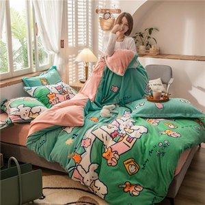 Bedding Sets 4PCS Warm Flannel Sheet Gift Duvet Cover Set Winter Thickened Milk Velvet King Size