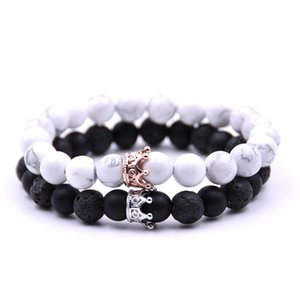 Fashion Natural Stone Lave Rock Bracelet Crystal Crown Beads Diamond Bracelets Fashion Jewelry for Women Men Will and Sandy