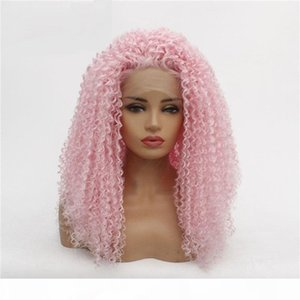 AFRO Kinky Curly Full Synthetic Hair Lace Front Perücken Rosa Farbe Simulation Menschliches Haar Perruques de Cheveux Statains Wigs 19326-2317 #
