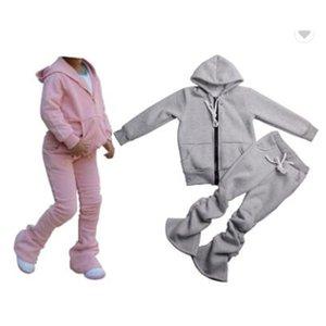 Solid Color Zipper Jogger Tracksuit Sweat Suit 2 Piece Sweatsuit Pants Set girls kids Jogging Track Suit 210225