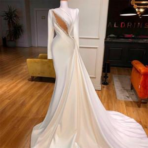 Long Sleeve Evening Dresses slid train High Neck Satin Ruffle Beaded Bridal Reception Gowns sexy keyhole Mermaid Prom Dress