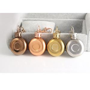 1oz Stainless Steel Hip Flask Keychain Mini Round Pocket Hip Flask Alcohol Bottle Travel Portable Mini Whiskey Flasks Gift Flagon OWA3860