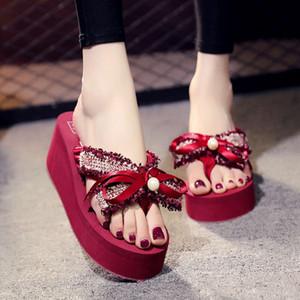 New Korean beach shoes women's summer fragrance sweet bow flip flop