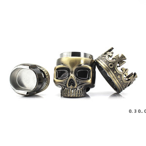 New King Skull Shape Grinder Metal Tobacco Grinder Smoking Herb 3 Layers Ghost Head Grinders 2 Colors EWF5193