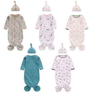 Newborn Baby Sleeping Bag With Hat 2 pcs Rainbow Cartoon print Swaddle Blanket Wrap INS Toddler Sleep Sacks Shark Photography Prop 15 styles Z4251