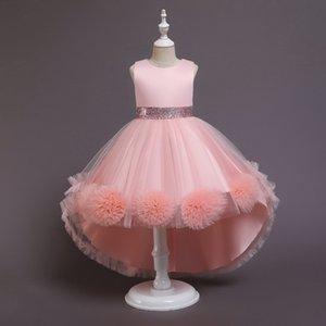 2021 새로운 여름 청소년 소녀 드레스 높은 낮은 공주 드레스 피아노 공연 아이 의류 E2038