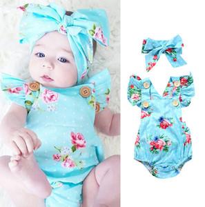 Cute Newborn Clothes Set Kids Romper Summer Jumpsuit Flower Bow Headband Children Harem Rompers Baby Bodysuit One Piece Suit H238V6M