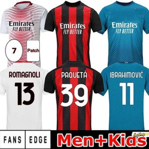 2020 2021 Ac Soccer Jerseys #11 Ibrahimovic Piatek Paqueta Theo Rebic Bennacer Romagnoli Custom 20 21 Adult Kids Home Away Football Shirts