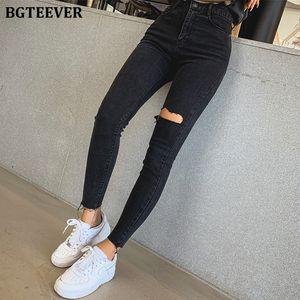 BGTeever Şık Siyah NY Kadın Streetwear Yüksek Bel Yırtık Delik Kalem Gerilebilir Kadın Denim Jeans 2019