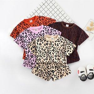 KT ins الكورية طفل رضيع أطفال الفتيات الملابس مجموعات الصيف ليوبارد قصيرة الأكمام قمم مع السراويل 2pieces itfits