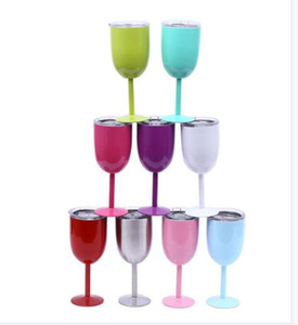 10oz Wine Tumbler Stainless Steel Wine Glass Goblet Double Walled Vacuum InsulatedUnbreakableCupDrinkware Coloured champagne glass YHM74 ZWL