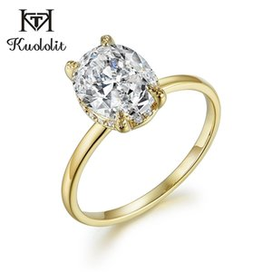 Kuololit Oval 8x10 Moissanite Ring for Women Solid 10K Yellow Gold Ring D Color Blue Green Solitaire Engagement Fine Jewelry 585 0308