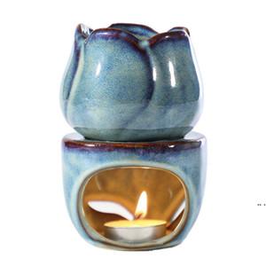 توليب السيراميك الضروري النفط مصباح رائحة مصباح جوفاء نمط بسيط الضروري النفط رائحة شمعة البخور الشعلات الديكور الداخلي DHA3887