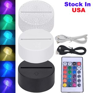 USA Stock Acrylic LED Night Light Base USB 3D Table Lamp Holder Remote Control Touch Switch For Wedding Festival Home Bedroom Decoration