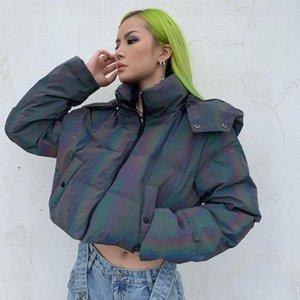 2020 Новое поступление Зимняя рефлевающая куртка для женщин Hight Street с капюшоном с капюшоном с капюшоном Сексуальный пупок голые теплые моды вниз
