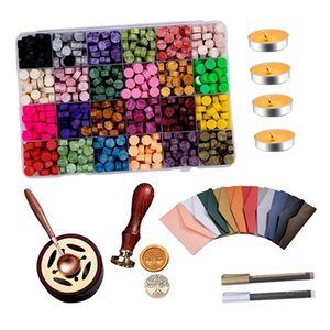 619PCS Sealing Wax Beads, with Tea Candles, Wax Melting Spoon, Stamp, Warmer, Envelopes and Metallic Pen, for Wax Seal (24 Colors)