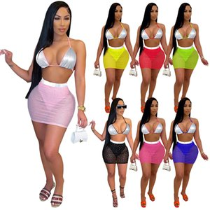 7 colors Hot selling 2021 Women's Solid color Splicing summer Swimsuit women's mesh Sequin Skirt Two-piece sets Sling Short skirt Suit