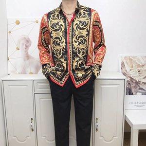 21 new clothing men's shirt 3D printing golden brilliant shirt men's long-sleeved party club designer top men's nightclub snake M-XXL