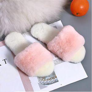 Hot sale-Flip flops Wool Furry slippers sandals womens grey pink brown Home soft bottom non-slip women slipper sandal size 36-40 06