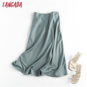 Tangada Femmes Solide Qualité Satin Midi Jupe Midi Vintage Cadre Zipper Bureau Mesdames Élégant Chic A-Line Jupes 6D18 210312