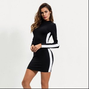 Dresses for Women Casual Striped Print Bodycon Party Dresses Long sleeve Sexy Club Leisure Mini Dress Black Color Clothes