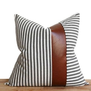 Modern simple Nordic stripe stitching leather PU sofa cushion cover pillow