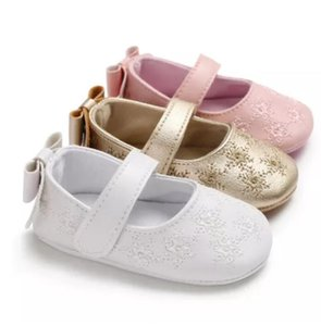 2021 Newborn Infant First Walkers Baby Girls Floral Pattern Crib Shoes Soft Sole Anti-slip Sneaker Wedding Princess Shoes