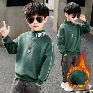 Hoodies & Sweatshirts Boys' Cotton Fleece 2021 Warm Plus Velvet Thicken Winter Autumn Tops Teenager Children's Clothing