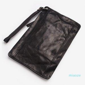 Men's retro handbaggage bags, leather wallet bags, large-capacity casual handbags, men's fashion envelope bags