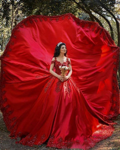 Latest Design Red African Ball Gown Wedding Dresses Off The Shoulder Neck Luxury Lace Appliqued Bridal Gowns robe de mariage Robes De Mariee