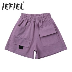 New Summer Teen Kids Shorts For Girls Cotton Fashion Casual Sport Shorts Children Hot Pure Color Pockets Dungarees