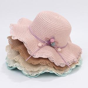 Sun Hat Straw Bucket Hats Children Girl Beach Derby Brimmed Dress Caps Summer Sun Visors Holiday Cap Elegant Hat