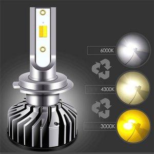H1 H3 H4 H7 H8 H11 9005 9006 자동차 용 자동 전면 LED 램프 3 색 온도 변경 가능한 3000K 4300K 6000K 자동 전구