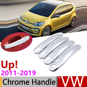 for Volkswagen VW Up! e-Up! Up 2011~2019 Chrome Door Handle Cover Car Accessories Stickers Trim Set 2012 2013 2014 2017 2018