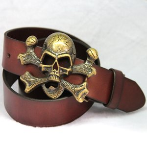 Unisex Novelty Personality Skull Buckle Belts Genuine Leather Men Belt Luxury Designer Belt For Men women Metal Buckle Jeans