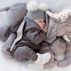 Cute Toddler Baby Rompers Newborn Infant Rabbit Ears Bunny Hat Jumpsuit Romper Long Sleeve Zipper One Piece Pants Spring Onesies H23ENAV