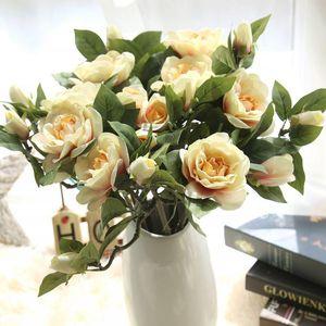 5 قطع الاصطناعي الزهور جاردينيا باقة المنزل حفل زفاف الديكور محاكاة جاردينيا الزهور عيد الحب ديكور
