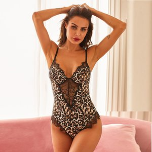 Sexy Leopard Stampa Body Bodys New Hospender V-Neck Cut-out pizzo Pigiamas 32410U1050ZPG